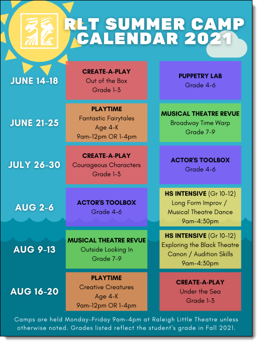 Summer camp calendar. Click to view as a PDF.